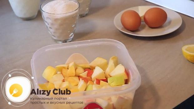 Смотрите рецепт приготовления сладкого заливного пирог с яблоками на кефире.