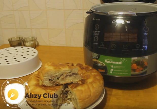 Вот мы и приготовили вкусный дрожжевой пирог с мясом в мультиварке.