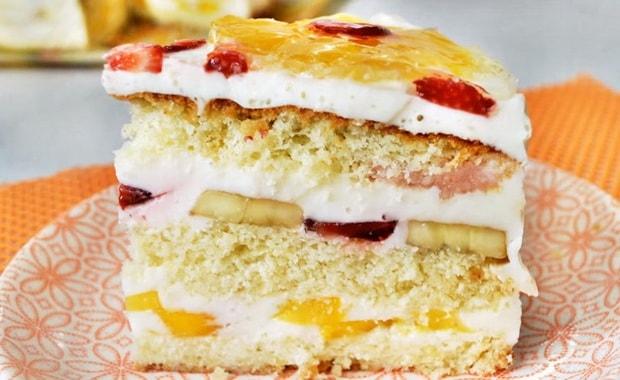 Как приготовить бисквитный торт со сметанным кремом по пошаговому рецепту с фото