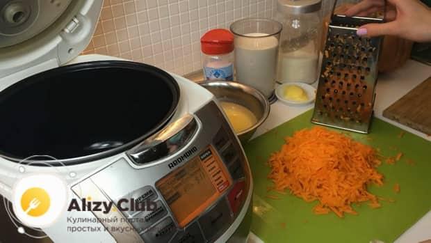 По рецепту для приготовления пшенной каши с тыквой в мультиварке натрите тыкву.