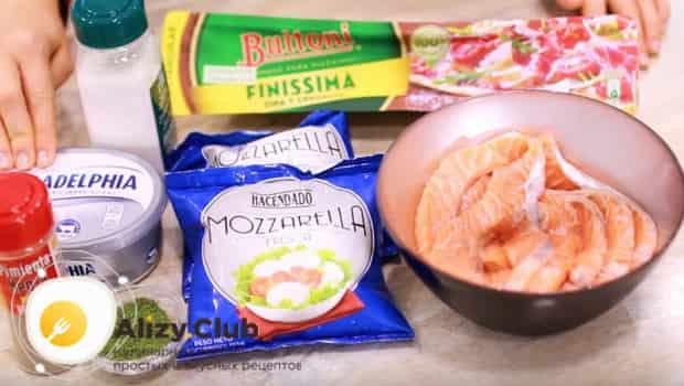 Ингредиенты для пирога с красной рыбой