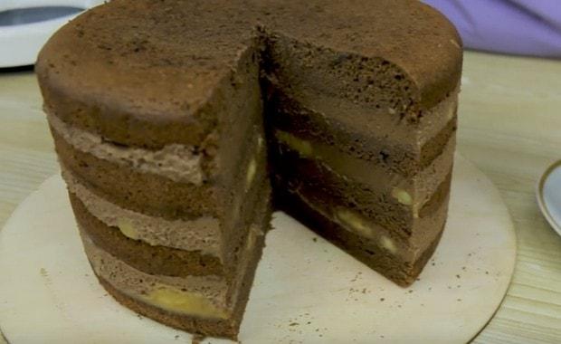 Как приготовить шоколадно-банановый торт по пошаговому рецепту с фото