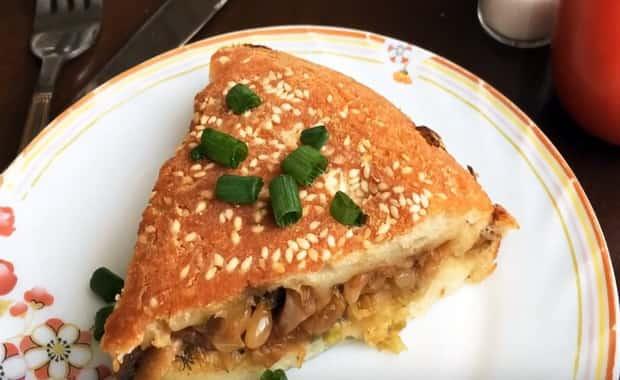 Пошаговый рецепт приготовления пирога с капустой и грибами
