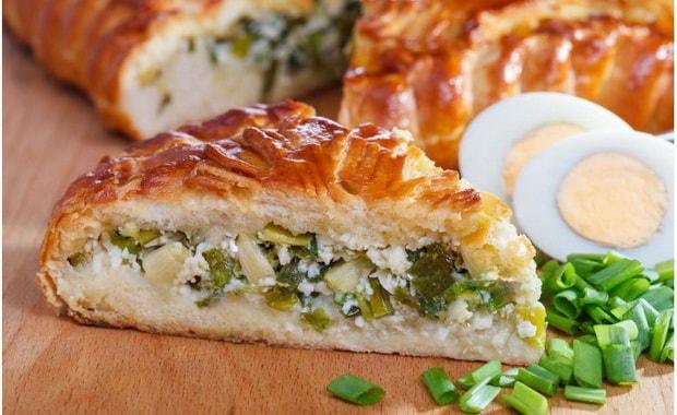 Как приготовить пирог с зеленым луком и яйцом по пошаговому рецепту с фото