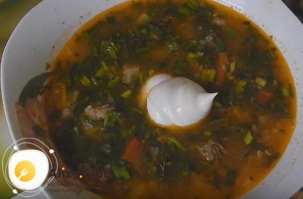 Такое первое блюдо можно подавать со свежей зеленью и сметаной.