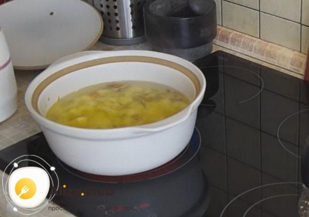 Выкладываем в кастрюлю картошку и заливаем все водой.