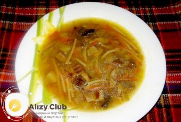 Нежный грибной суп из сушеных грибов с вермишелью готов!