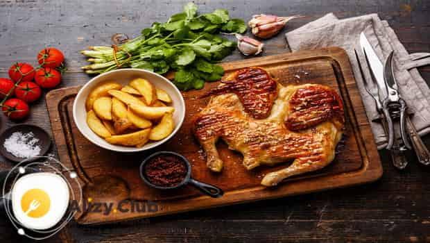 Цыпленок табака в духовке подаем с картошкой