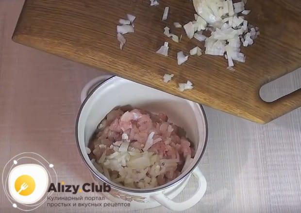 Выкладываем лук в емкость с измельченным куриным филе.