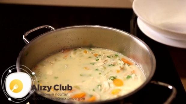 Дождитесь, пока суп почти начнёт кипеть