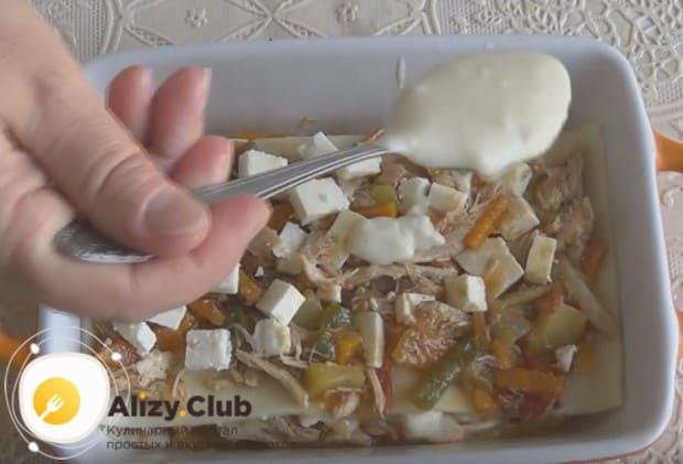 Повторяем слои блюда, формируя их как можно больше.