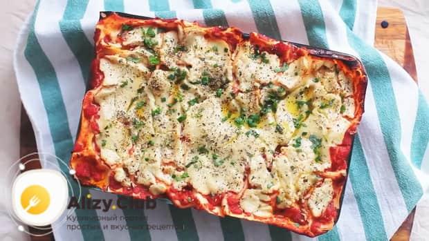 Вкусная овощная лазанья готова.