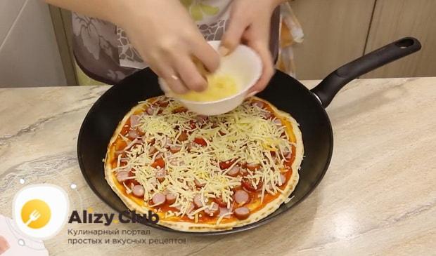 Смотрите рецепт домашней пиццы на сковороде
