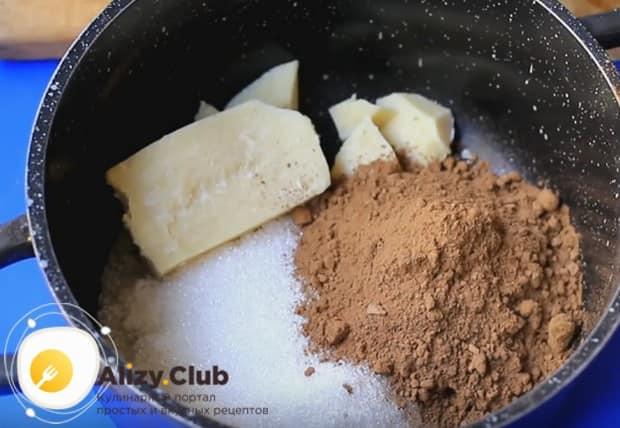Чтобы приготовить помадку для постного пирога, будем использовать масло какао.