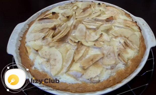 очень вкусный рецепт приготовления яблочного пирога со сметанной заливкой
