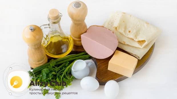 Ингредиенты для приготовления обжаренного лаваша с начинкой