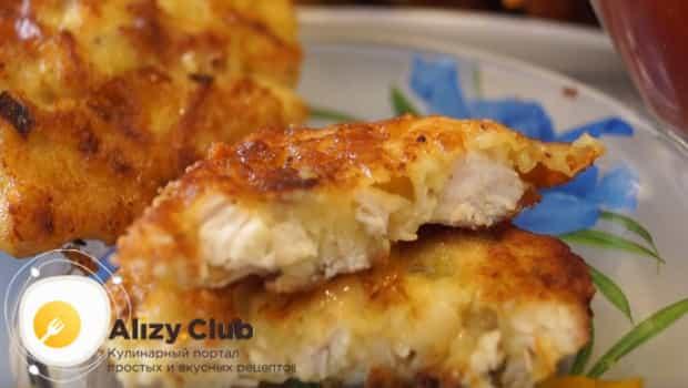 Вот такой легкий рецепт рубленных куриных котлет с сыром