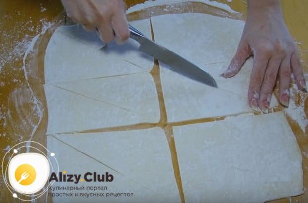 Разрезаем пласт на одинаковые треугольнички.