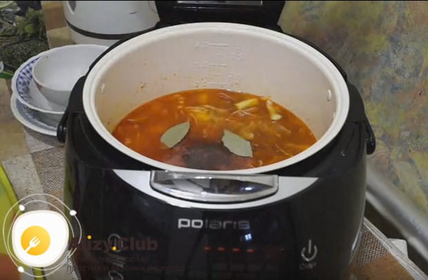 Солим и перчим солянку по вкусу, кладем лавровый лист.