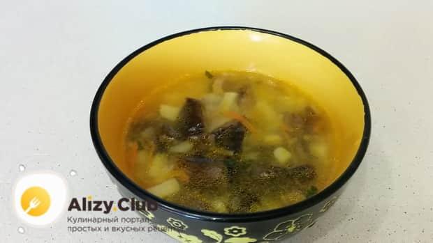 Грибной суп из замороженных грибов готов.