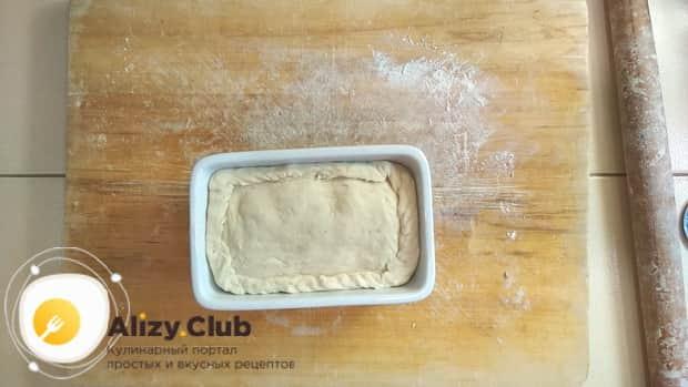 Для приготовления пирога со свежей рыбой, выложите пирог в форму.