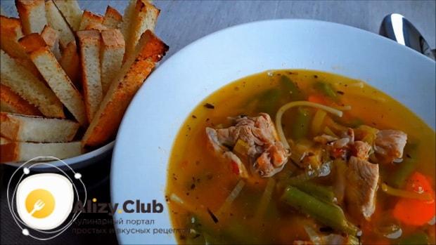 Вкуснейший суп с кроликом готов.