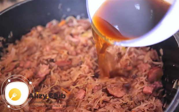 Для приготовления бигуса по польски нарезаем грибы
