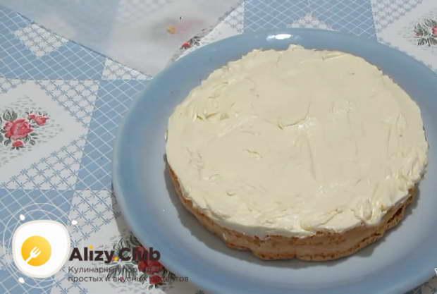 Поверх пропитанного коржа намазываем щедрый слой масляного крема