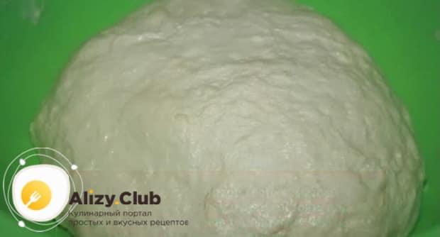 Для приготовления теста для чебуреков на кефире вымесите ингредиенты.