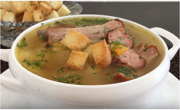 как приготовить суп с копченными ребрышками