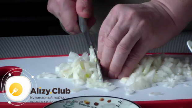 Мелко нарежьте пару луковиц