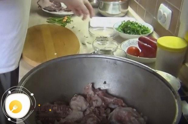 Кладем в казан нарезанное кусочками мясо.