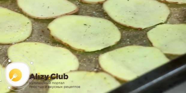 выкладываем на протвинь слой картофельных пластин и посыпаем их солью со специями