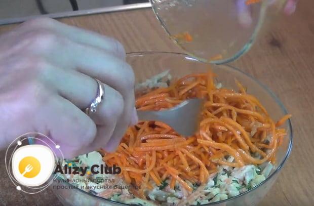 Подробный рецепт приготовления салата лисичка с корейской морковкой с фото и видео