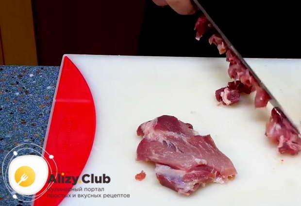 Нарезаем мелкими кубиками 350 г мякоти свинины