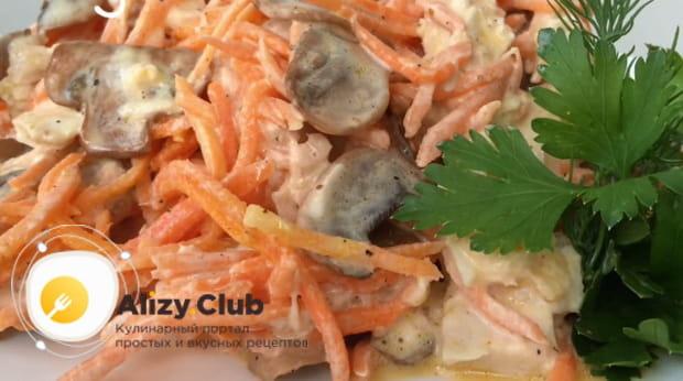 Как приготовить салат лисичка с корейской морковкой и грибами в домашних условиях