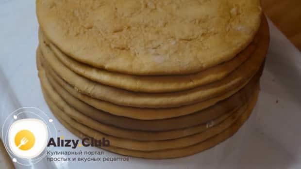 Для приготовления медового торта рыжик со сметанным кремом, приготовьте коржи
