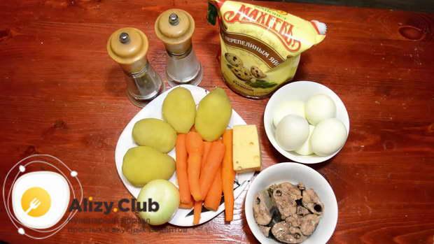 мимоза рецепт классический с консервами и сыром