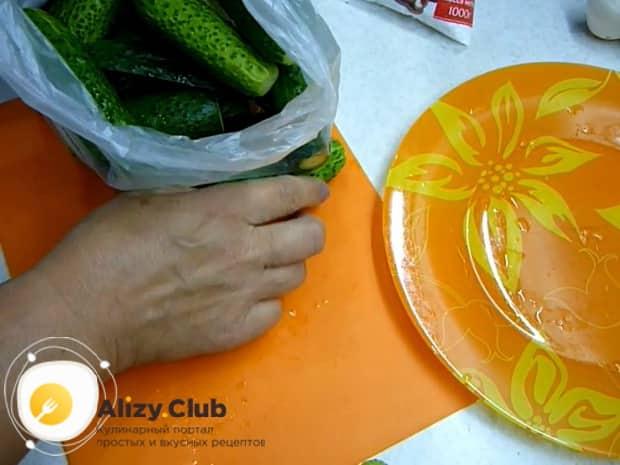 Для засолки огурцов в собственном соку положите ингредиенты в пакет.