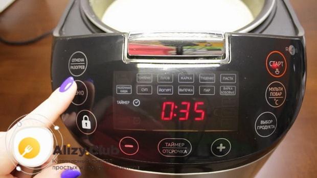 Для приготовления супа из шампиньонов свежих с картофелем закройте крышку мультиварки