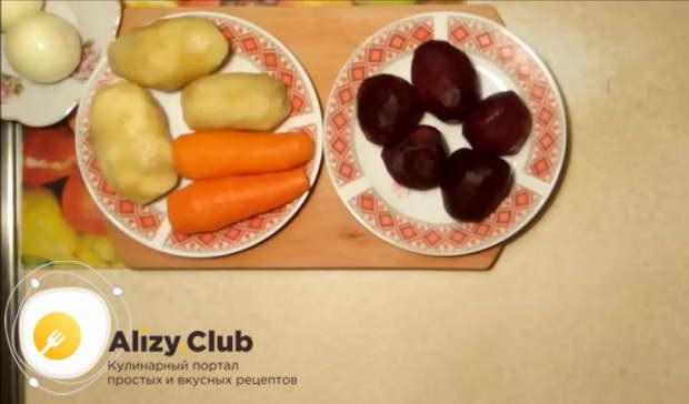 Салат под шубой без селедки в форме сердца