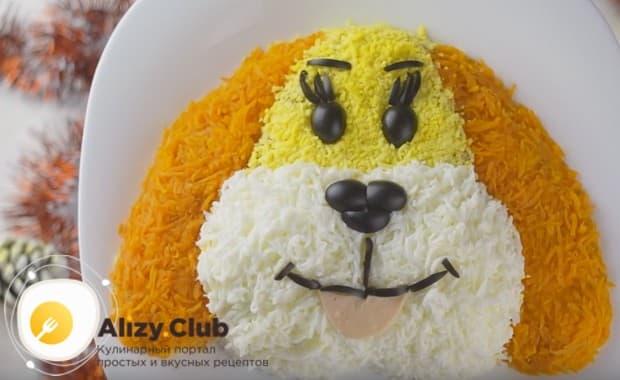 Приготовьте вкусный и красивый салат Мимоза в виде собаки по нашему рецепту, и он станет центральным украшением вашего стола!