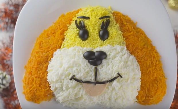 Как приготовить салат «Мимоза» в виде собаки по пошаговому рецепту с фото