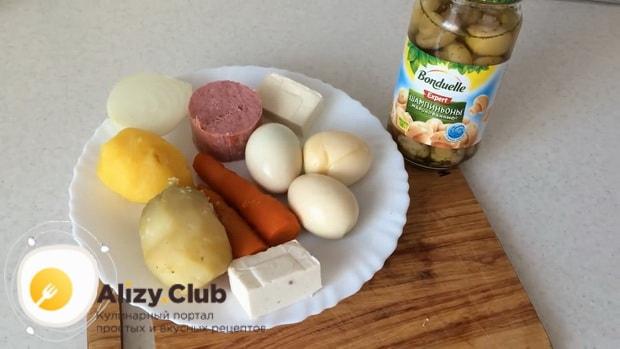 Смотрите как приготовить салат с маринованными шампиньонами, простой рецепт с фото