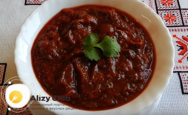 рецепт консервации на зиму классического грузинского соуса сацебели по подробному рецепту с фото