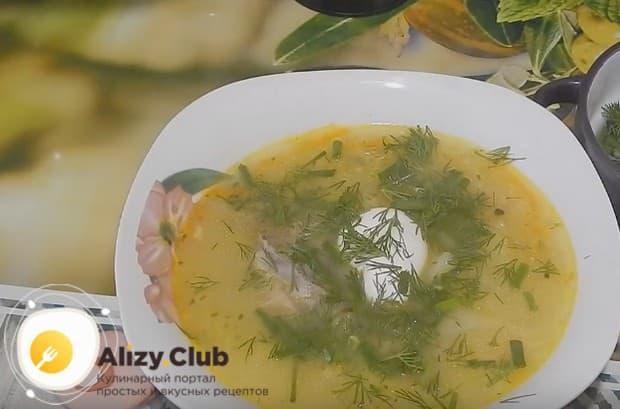 Подаем блюдо со свежей зеленью и сметаной.