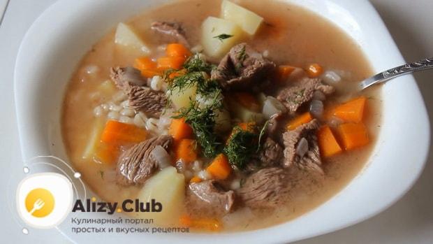 Вкусный суп с перловкой на говяжьем бульоне гогтов