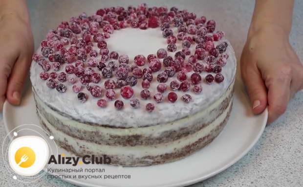 Промазываем его белковой глазурью и украшаем засахаренными ягодами клюквы