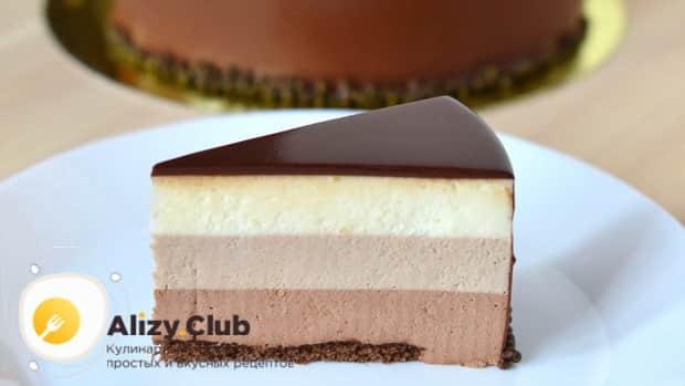 Вкуснейший торт три шоколада готов.