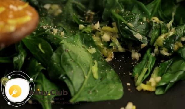 Для приготовления шпината по рецепту нужно добавить специи